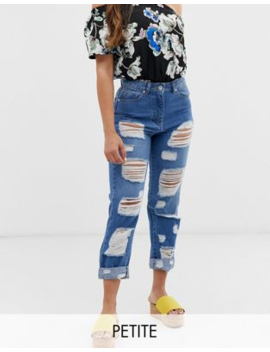 Parisian Petite High Waisted Jeans With Extreme Distressing Detail by Jeans