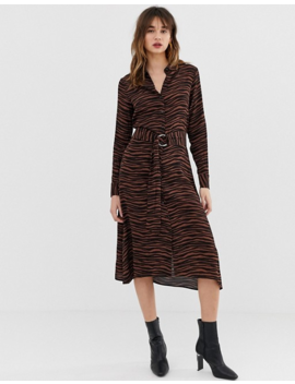Warehouse Shirt Dress In Tiger Print by Warehouse
