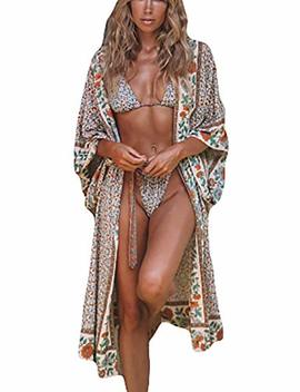 Bsubseach Womens Chiffon/Rayon Beach Blouses Kimono Cardigan Long Bikini Cover Up by Bsubseach