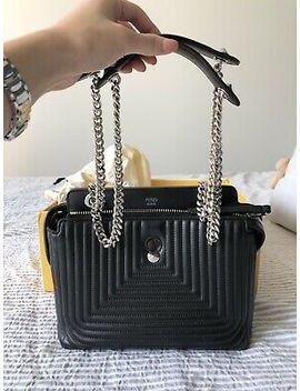 Authentic Fendi Dotcom Click Crossbody Tote Bag In Black Lambskin Matelasse by Fendi