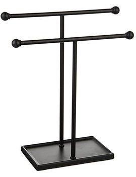 Amazon Basics Double T Hand Towel Holder And Accessories Jewelry Stand, Black by Amazon Basics