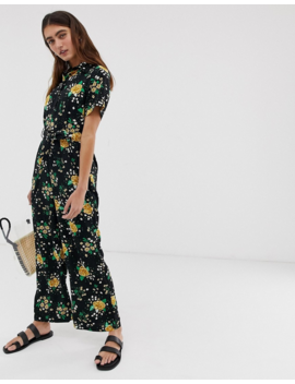 Monki Floral Print Tie Waist Jumpsuit In Black by Monki
