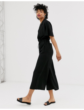 Asos Design Tux Tie Waist Jumpsuit With Wide Leg by Asos Design
