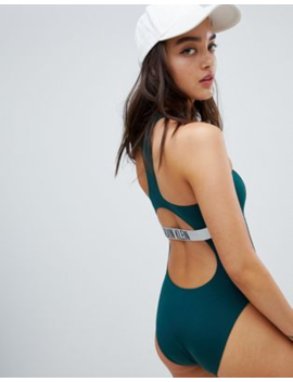 Calvin Klein Cut Out Swimsuit In Forest Green by Calvin Klein