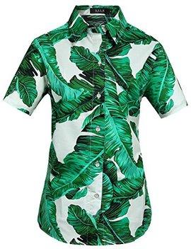 sslr-womens-banana-leaves-casual-tropical-aloha-hawaiian-shirt by sslr