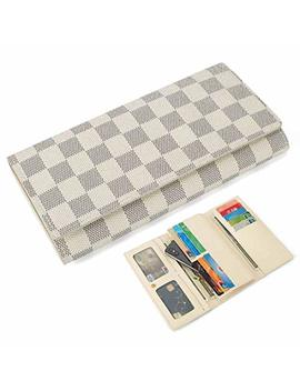 trifold-wallets-for-women-leather-clutch-checkbook-purse-rfid-blocking-with-credit-card-holder-organizer by cg-gold