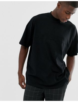 Asos Design Oversized T Shirt With Seam Detail &Amp; Turtle Neck In Black by Asos Design