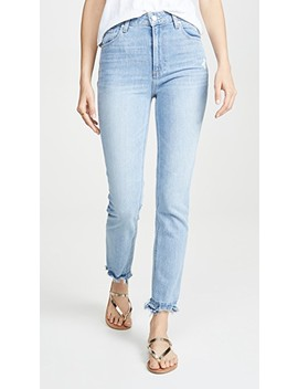Sarah Slim Jeans With Ripped Hem by Paige