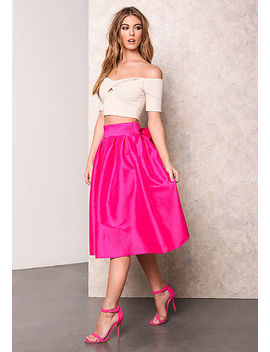Fuchsia Classic Bow Tie Midi Skirt by Love Culture