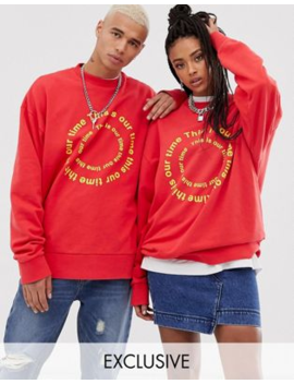 Collusion   Unisex Sweatshirt In Rood Met Wassing by Collusion