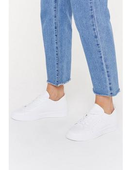 Pu Lace Up Raw Edge Court Sneaker by Nasty Gal