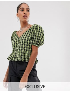 collusion-gingham-short-sleeve-top by collusion