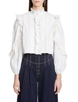 adelaide-eyelet-trim-blouse by ulla-johnson