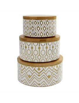 Decorative Containers Canister Set 3, Porcelain Geometric Storage Jars With Bamboo Lids, Holiday Gift by La Jolie Muse