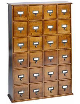 Leslie Dame Cd 456 W Solid Oak Library Card File Media Cabinet, 24 Drawers, Walnut by Leslie Dame Enterprises