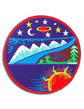 Sun Moon Stars Trees Ocean Mountain Hut Embroidered Iron On Patch by Bafunzo Doll