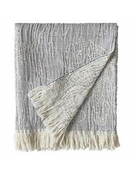 """Stone & Beam Soft Vintage Distressed Fringe Paisley Blanket, 50"""" X 60"""", Ivory And Natural by Stone & Beam"""
