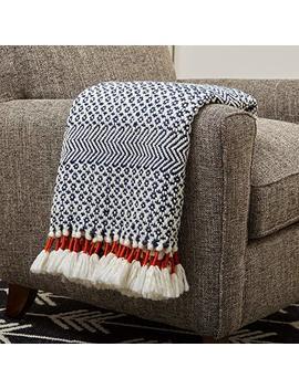 "Rivet Modern Hand Woven Stripe Fringe Throw Blanket, Soft And Stylish, 50"" X 60"", Navy by Rivet"