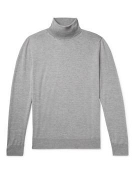 Mélange Merino Wool Rollneck Sweater by Canali