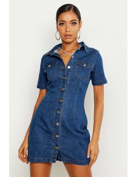 Button Front Denim Skirt Dress by Boohoo