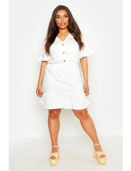Plus Rib Ruffle V Neck Smock Dress by Boohoo
