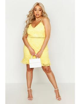 Plus Heavy Lace Embroidered Ruffle Skater Dress by Boohoo