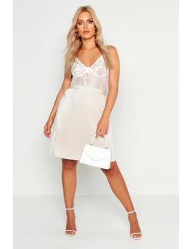 Plus Plisse Skater Skirt by Boohoo