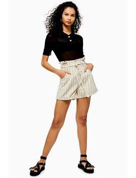 Ecru Striped Denim Paperbag Shorts by Topshop