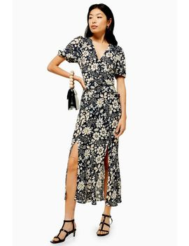 Floral Print Ruffle Midi Dress by Topshop