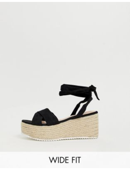 Glamorous Wide Fit Black Tie Up Espadrille Sandals by Glamorous