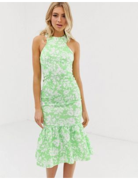 Asos Design Floral Print Halter Maxi Dress With Fishtail by Asos Design