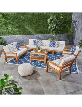 Grenada Outdoor Acacia Wood Sectional Sofa Set With Cushions By Christopher Knight Home by Christopher Knight Home