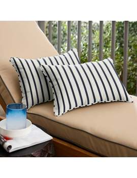 Mabley Sunbrella Lido Indigo Indoor/ Outdoor 13 X 20 Inch Corded Pillow Set by Humble And Haute