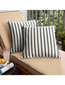 Mabley Sunbrella Lido Indigo Indoor/ Outdoor Corded Pillow Set by Humble And Haute