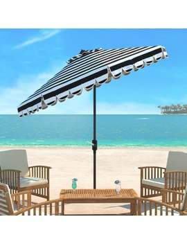 Safavieh Maui Single Scallop Striped 9 Ft Black/ White Crank Umbrella by Safavieh