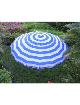 8 Ft Royal Blue And White Stripe Deluxe Beach/Patio Umbrella by Generic
