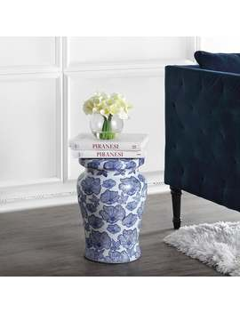 "Poppies 17.7"" Ceramic Garden Stool, White/Blue By Jonathan Y by Jonathan Y"