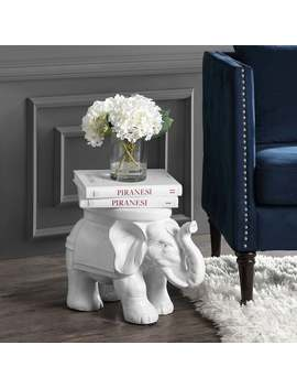 "White Elephant 14.2"" Ceramic Garden Stool, White By Jonathan Y by Jonathan Y"