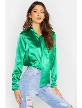 Satin Wrap Neck Tie Blouse by Boohoo