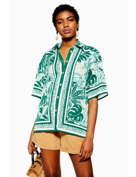 Green Placement Bowler Shirt by Topshop