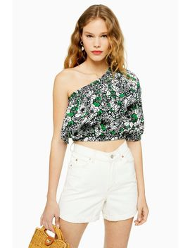 Floral Ruffle One Shoulder Blouse by Topshop