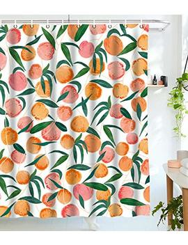"""Lifeel Peach Shower Curtains,Funny Fruit Design Fabric Summer Shower Curtain Set With 12 Hooks,Peachy White 72""""×72"""" by Lifeel"""