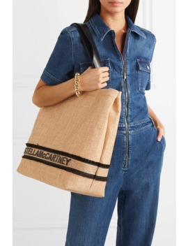 Small Faux Leather Trimmed Raffia Tote by Stella Mc Cartney
