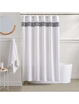 Amazon Basics Athena Embroidered Shower Curtain   Navy by Amazon Basics