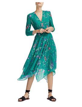 Smocked Floral Print Midi Dress by Maje