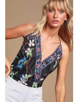 Kona Black Satin Floral Print Halter Top by Lulus
