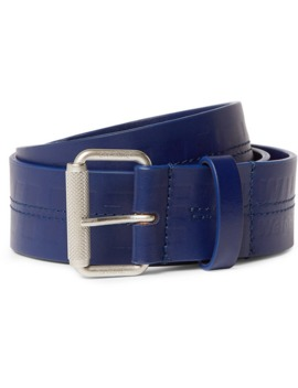5cm Navy Logo Debossed Leather Belt by Off White