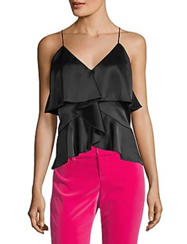 Katherine Satin Tiered Ruffle Camisole by Alice + Olivia