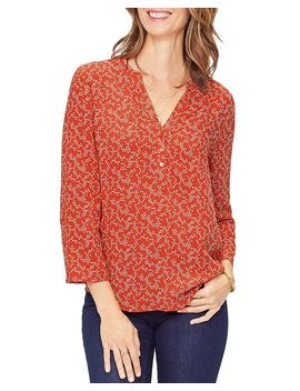 Printed Henley Popover Top by Nydj