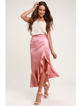 Dancing Queen Rusty Rose Satin Ruffle Midi Skirt by Lulus